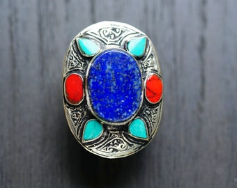 Lapis Kuchi Ring,Gypsy Ring,Coral,Turquoise ,Lapis Afghan Ring,Afghan jewelry,Tribal jewelry,Statement Ring,Kuchi jewelry,Free shipping