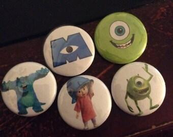 """Monster Inc. Pin Buttons Set 1"""""""