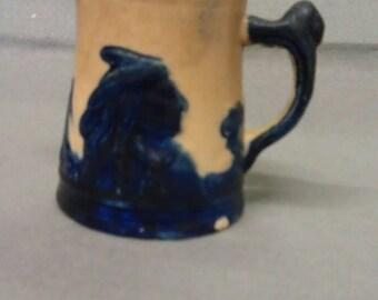 Vintage Old Sleepy Eye Stoneware Pitcher Monmouth Illinois Chief Tepee Pottery