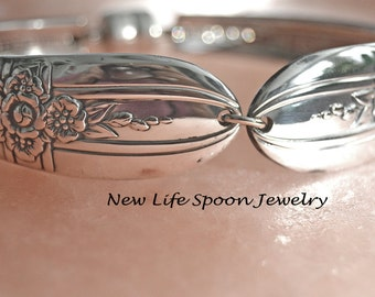 "Spoon Bracelet ""Triumph"" Flower Silver Bracelet Spoon Bracelet Silverplate Jewelry Antique Bracelet Handmade Wedding Gift --27"