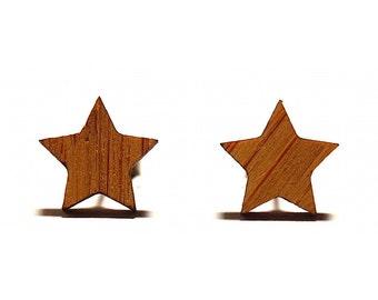 Star Bamboo Stud Earrings, Wooden Earrings, Star Earrings, Star Studs, Minimal Earrings, Bamboo Earrings, Titanium Earrings, Hypoallergenic