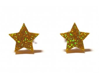 Star Stud Earrings - Gold, Yellow or Purple. Star Earrings, Star Studs, Star Jewelry, Mini Earrings, Gold Stars, Purple Stars, Yellow Stars