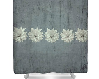 Steely Rustic Shower Curtain,Grey Designer Bathroom Decor,Floral Print,Shabby Chic,Boho chic, Bohemian Style,Dahlia Flower Curtains