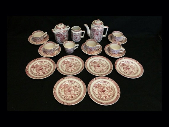 FREE SHIPPING-20 Piece-Antique-Late 1800's-England-Staffordshire-Charles Allerton & Sons-Little Mae With Dog-Red-Transferware-Childs Tea Set