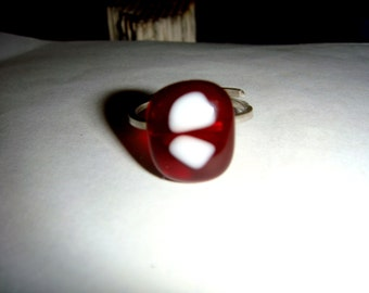 adjustable fused glass and sterling silver ring