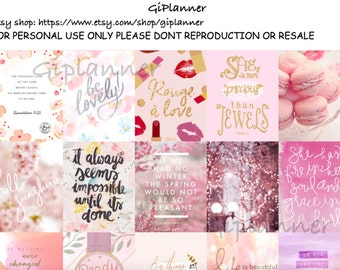 PRINTABLES #PINK Inspirational Quotes Pattern Stickers for Erin Condren Square Instant download