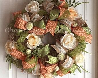 Large Floral Spring Wreath, Floral Spring Wreath, Spring Wreath, Shabby Chic Wreath, Mesh Spring Wreath, Spring Decor, Floral Spring Decor