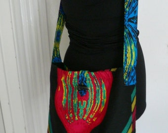 Black and Fuchsia Ankara Shoulder Bag, African Wax Crossbody Bag - Made to Order