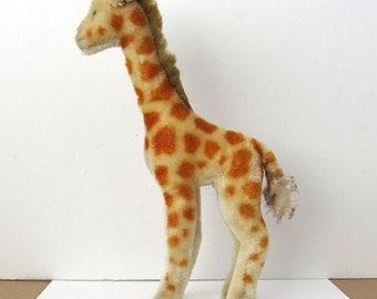 "Vintage STEIFF 11"" Giraffe Plush Mohair no button"