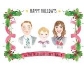 custom portrait ,valentine,Christmas card,watercolor portrait,couples portrait,Custom Illustrated Family Portrait
