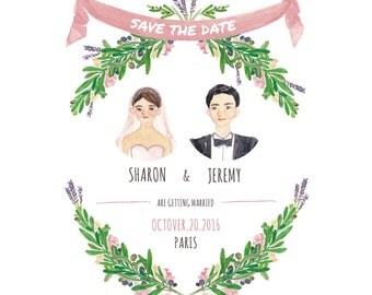 Custom wedding Illustration, Save the date, olive branch,wreath,Printable,Postcard, Wedding invitation,Digital download, Postcard DIY