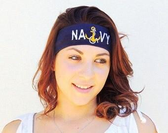 Navy fashion embroidered headband, Navy, Navy mom, navy wife, navy girlfriend, anchor, wife Navy, navy gift, yoga headband,naval, seaman