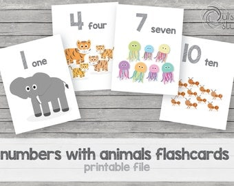 Printable kid's numbers with animals flashcards, english.