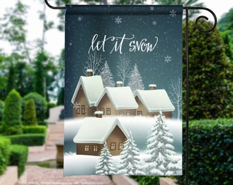 Let it Snow Peaceful Winter Scene Personalized Garden Flag Yard Sign Banner Decor Decoration Personalize with your Family Name