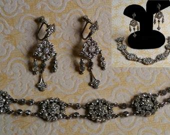 Vintage Art Deco Czech paste earrings and bracelet set. 1930's