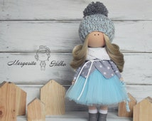 Winter doll handmade blue blonde colors Fabric doll Home doll Rag doll Decor doll Tilda doll unique magic doll by Master Margarita Hilko
