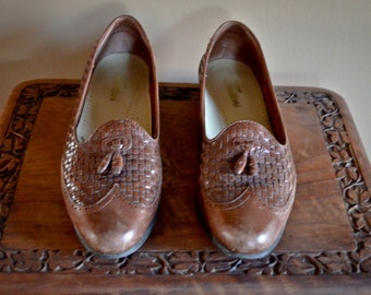 Vintage Heathers Loafer- Vintage Woven Loafers, Vintage Leather Loafers, Vintage Tassel Loafers, Size 8.5, 80s Loafers, 80s Shoes, 80s 90s