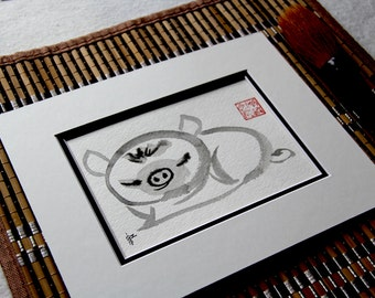 Birthday gift, Chinese Zodiac, water colour painting, Original Sumi Ink , feng shui, baby shower, wedding, room decor