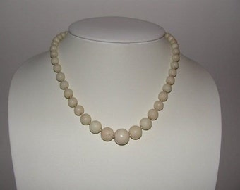 Graduated Angelskin Coral Necklace 800 Silver