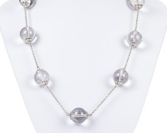 Pools of Light Rock Crystal Quartz Bead Sterling Silver Necklace