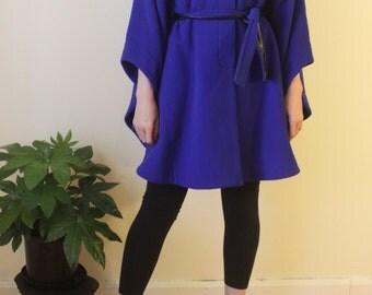Electric blue woollen semi-cape