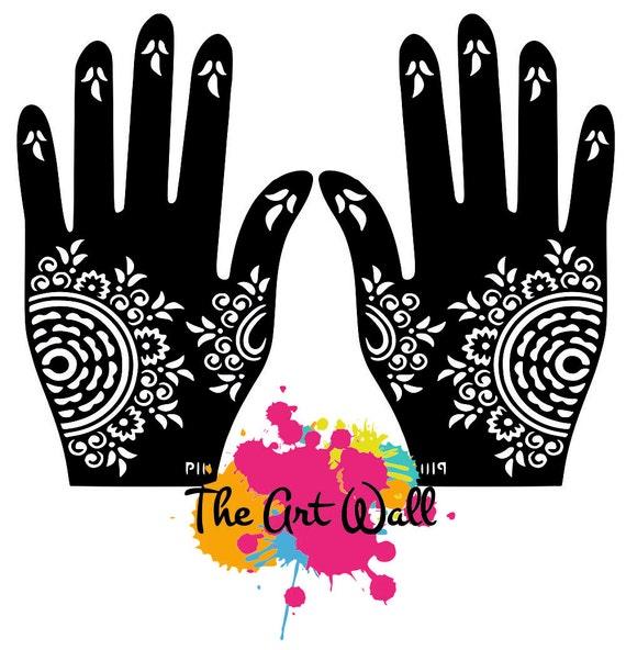 2 mains cercles pochoirs pour tatouage temporaire au henn et. Black Bedroom Furniture Sets. Home Design Ideas