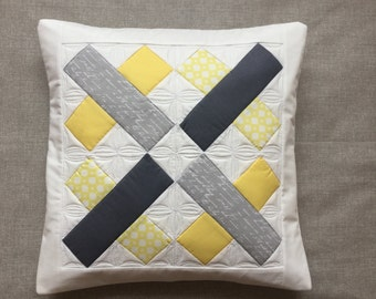 Yellow and grey pillow - quilted throw pillow - quilted pillow cover - pillow with cross - patchwork pillow