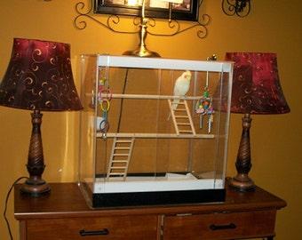 Acrylicage 3 - Clear Acrylic Bird Cage - 24 x 24 x 30
