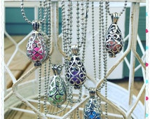 """Essential Oil Diffuser Necklace Antique Silver 16""""-24"""" Ball Chain With 7 Different Colored Clay Aroma Beads Aromatherapy Life EsSCENTials"""