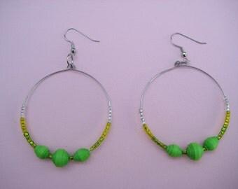 Paper and Glass Bead Hoop Earrings
