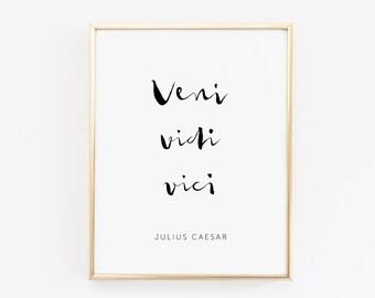 Printable Quote Veni vidi vici Iulius Caesar Inspiration Brush Lettering Inspirational Quote Print 8x10 - Apartment Decor Scandinavian Print