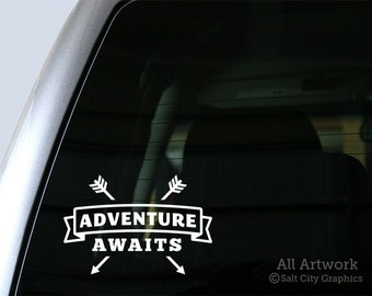Adventure Awaits Decal - Vinyl Sticker Quotes, Vinyl Decal Sayings and Phrases - Car Window Decal, Laptop Sticker, Bumper Sticker