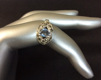 Vintage Topaz and Sterling Silver Ring Size 6