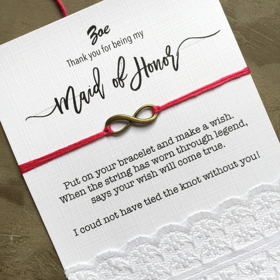 Maid Of Honor Gift Maid Of Honor Card Thank You By