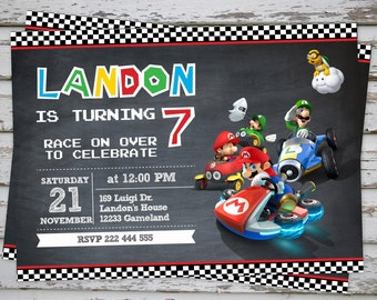 Mario Kart Birthday Party Invitation Super Mario Birthday Invitation Luigi Party PRINTABLE