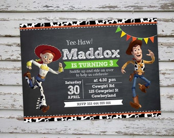 Woody and Jessie Toy Story Birthday Party Invitation Cowboy and Cowgirl Invitation Woody Invite  Jessie Invitation Toy Story Invitation DIY