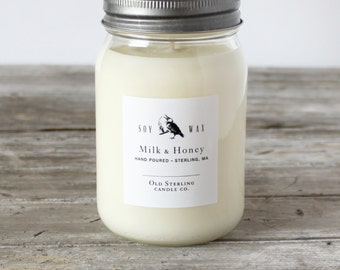 MILK & HONEY - Soy Candles - 16 oz. Mason Jar Candle - Scented Candle - Old Sterling Candle Co.
