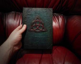 Charmed blank book of shadows dark green with red triqeutra A5 spells vintage parchment paper wiccan witchcraft grimoire prop journal diary