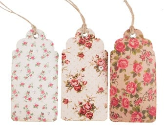 Cream Floral Luggage Tags, Luggage Tags, Tags, Stationery, Gift Wrapping, Craft Supplies, Wedding Decorations, Wedding Favours, Labels