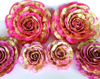 6 giant paper flowers kate bridal spade baby shower girl pink gold Photo backdrop Wall arch CENTERPIECE backdrop baptism party 1st birthday