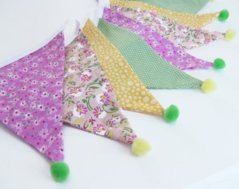 Floral pom pom bunting, fabric bunting, party decor, flower bunting, pom pom garland, home decor, yellow and green, photo prop,  Nessa Foye