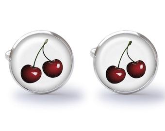 Cherry Cufflinks - Bing Cherries - Cherries Cuff Links (Pair) Lifetime Guarantee