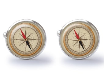 Retro Nautical Compass Cufflinks (Pair) Lifetime Guarantee