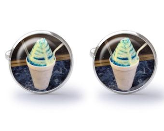 Snow Cone Cufflinks - Shaved Ice Cufflinks - Tropical Sno Cone Cufflinks - Tropical Shaved Ice Cuff Links (Pair) Lifetime Guarantee (S0356)