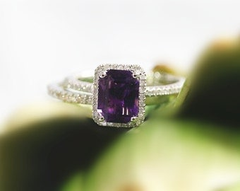14k White Gold 6x8mm Emerald Cut  Amethyst Ring Halo Diamond Engagement Ring and Diamond Band Set