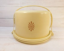 Sale - Vintage Yellow Tupperware Cake Holder, Pie Carrier, Maxi Taker