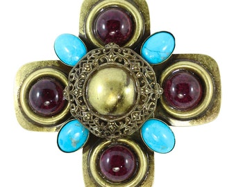 Signed Lawrence VRBA Large Military Cross Style Brooch - Turquoise, Purple