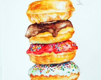 Donuts Original Watercolor Painting, Whimsical Food Illustration, Miniature Dessert Art, Colorful Kitchen Wall Art, Modern Food Painting