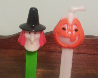 2 Halloween Pez Dispensers- Witch and Pumpkin