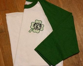 Four Leaf Clover Shirt, Monogram Clover Shirt, Monogram Shamrock Raglan Shirt
